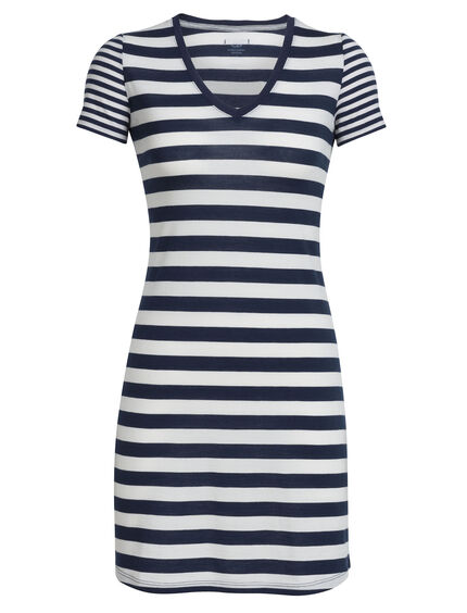 Tech Lite Short Sleeve V Dress Stripe